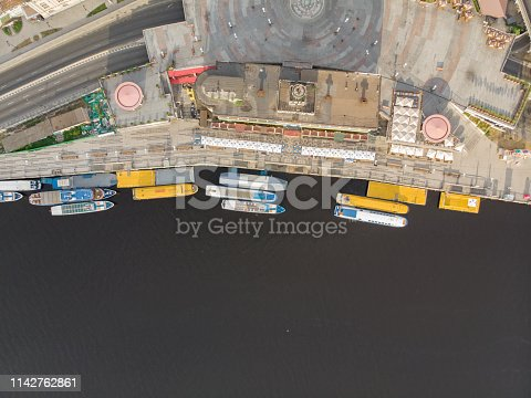 istock aerial view of river bay with ships. public place 1142762861