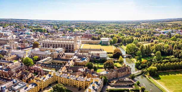 Aerial view of river Cam in Cambridge, United Kingdom stock photo