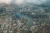 Aerial view of river Thames in London from an airplane.