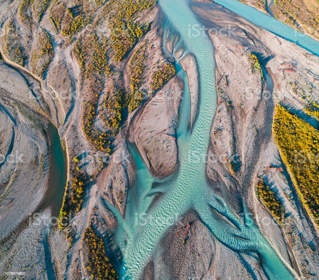 Aerial view of river water channels. stock photo