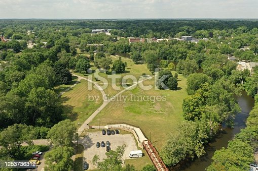 Aerial view of the Huron River, Depot Town and Riverside Park in Ypsilanti, MI.