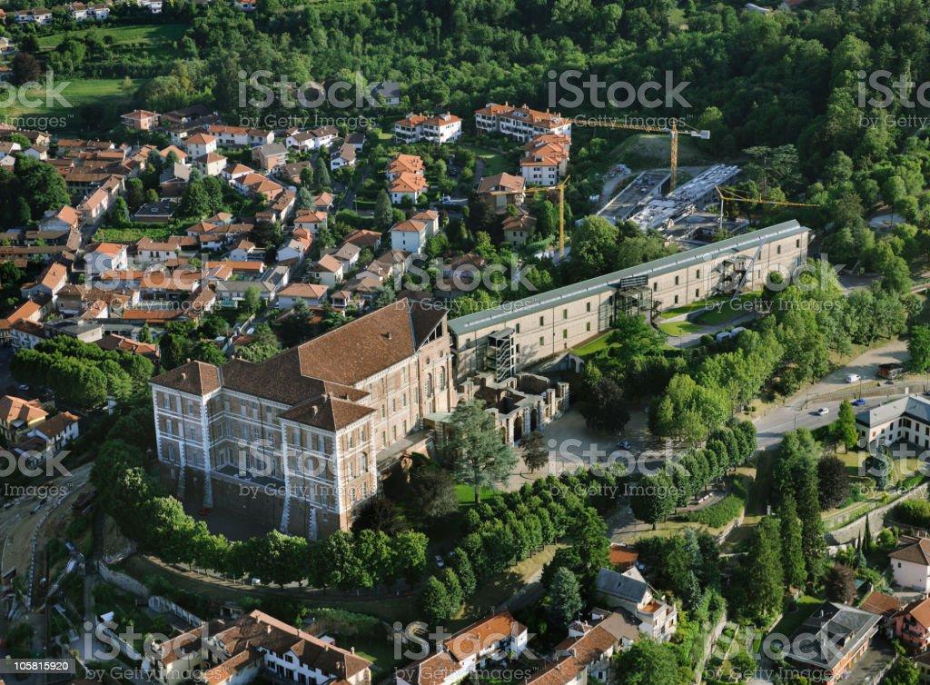 Aerial view of Rivoli castle, Turin, Piedmont stock photo