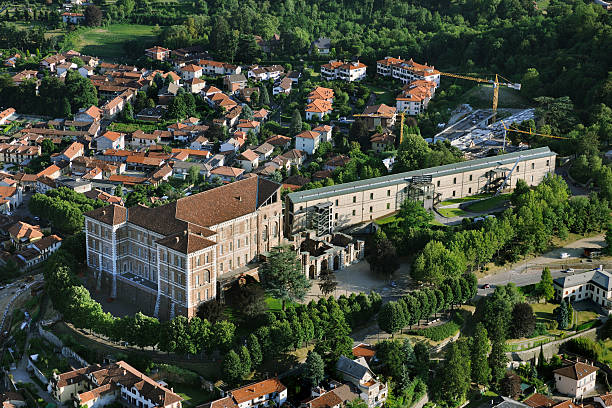 Aerial view of Rivoli Castle, Turin, Piedmont stock photo