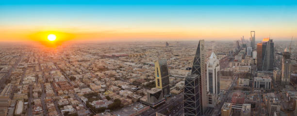 Aerial view of Riyadh City, the capital of Saudi Arabia Panoramic view of Riyadh city at Before sunset saudi arabia stock pictures, royalty-free photos & images