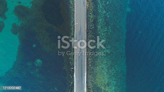 Aerial view of road between blue lake