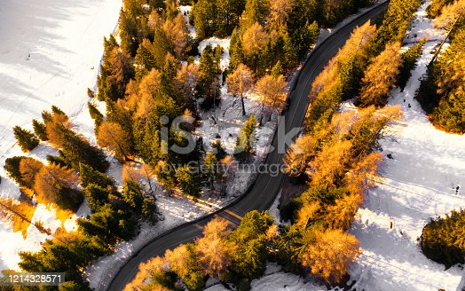 Aerial view of road in mountain