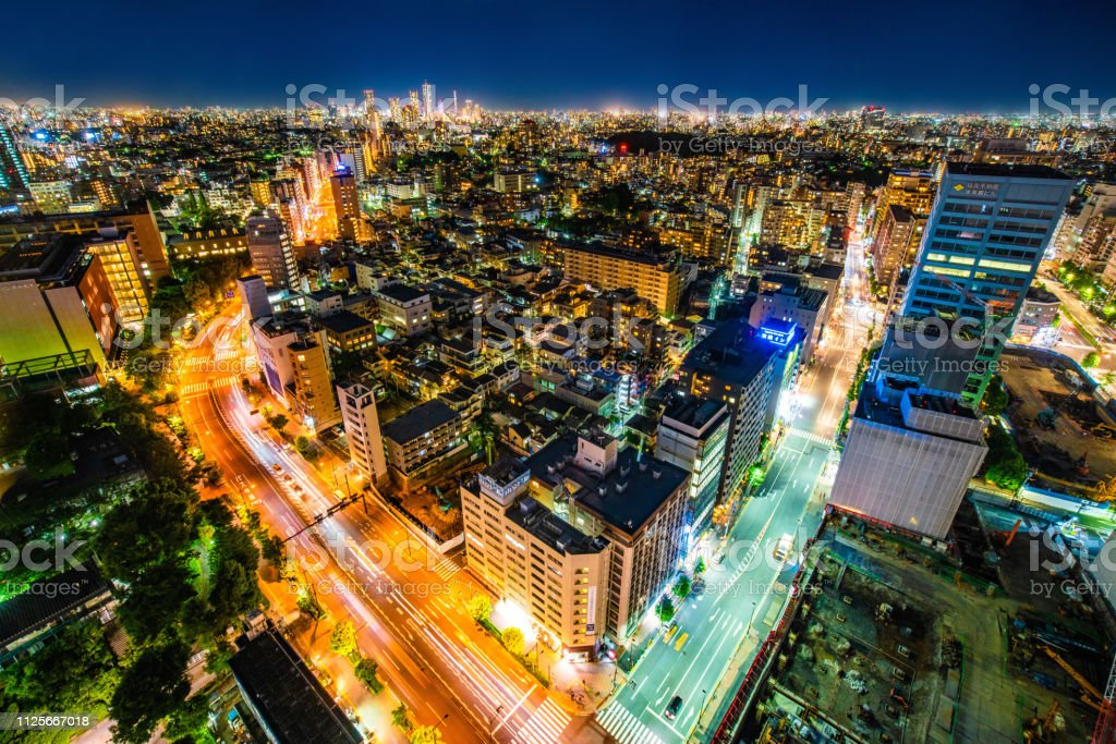 Luftaufnahme des Straße in Tokyo City Skyline Stadtbild. – Foto
