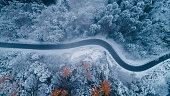 istock Aerial view of road in winter 898900900