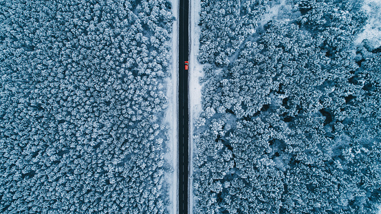 Aerial view of road in winter