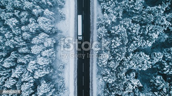 istock Aerial view of road in winter with truck on it 898903016