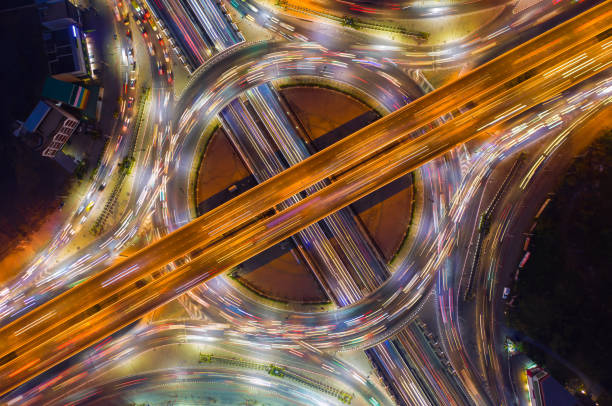 Aerial view of road junction, Intersection in thailand stock photo