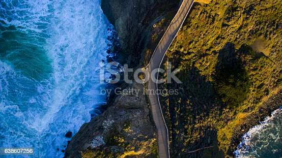 istock Aerial view of road next to ocean 638607256