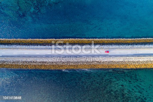 Aerial View of Road on Causeway, Snaefellsnes Peninsula, Iceland
