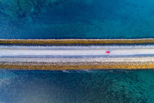 Aerial View of Road on Causeway in Iceland stock photo