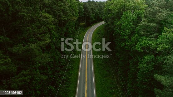 888361900 istock photo Aerial View of Road Through Forest in the Spring 1223456492