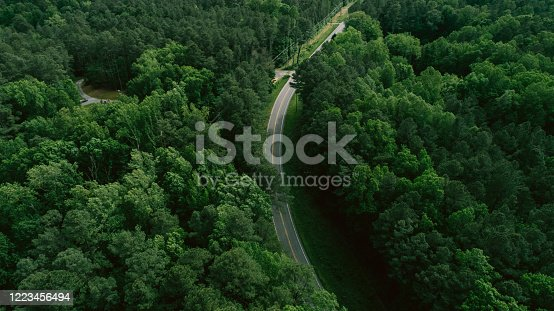 888361900 istock photo Aerial View of Road Through Forest in the Spring 1223456494