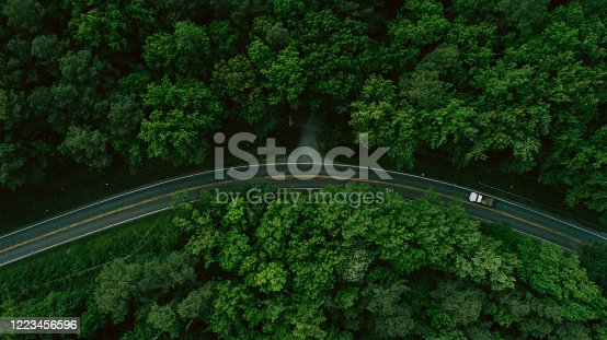 888361900 istock photo Aerial View of Road Through Forest in the Spring 1223456596