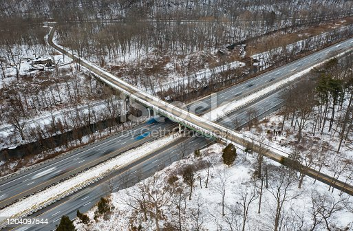 Aerial view of road - Traffic in The New York State Thruway (85) near Arden - NY - USA