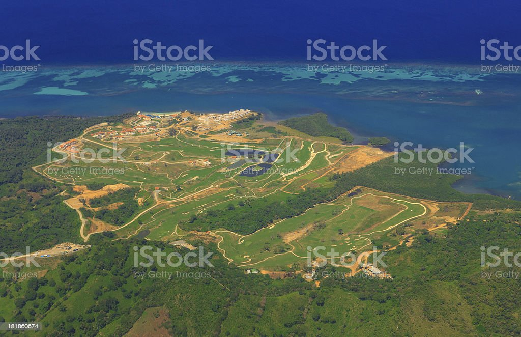 Aerial view of Roatan golf course stock photo