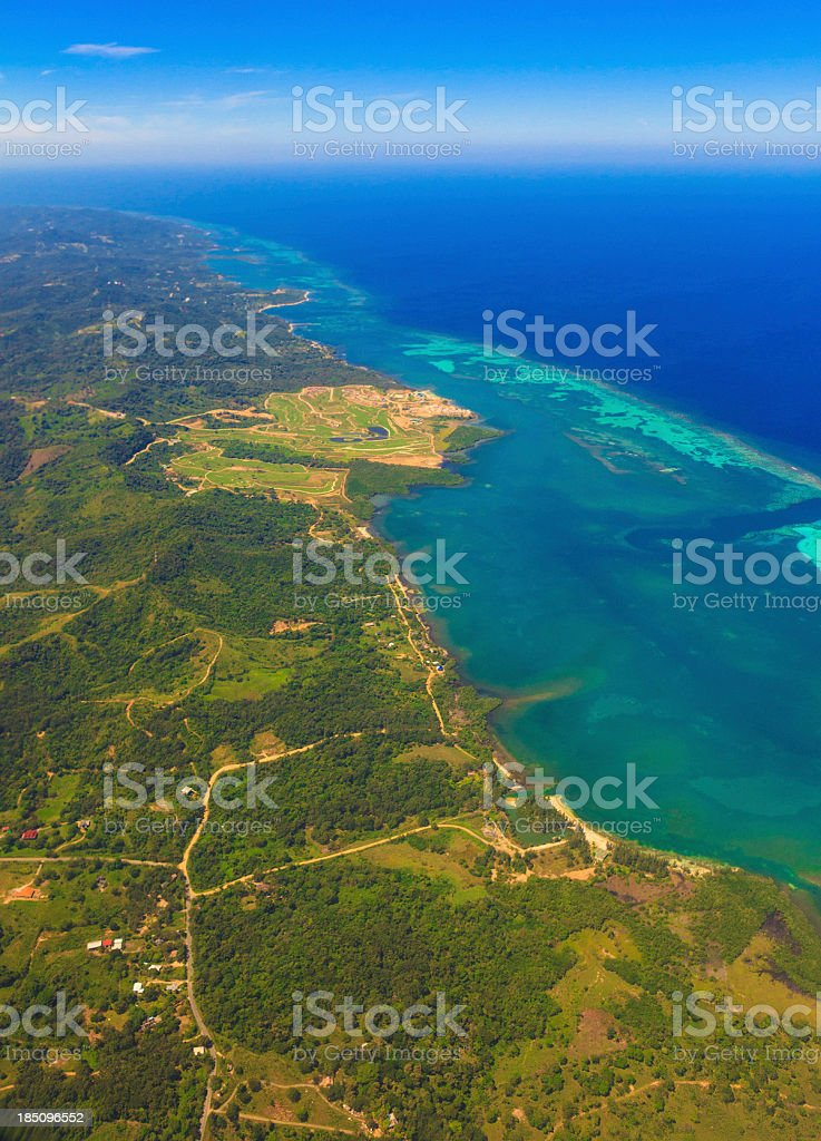 Aerial view of Roatan stock photo
