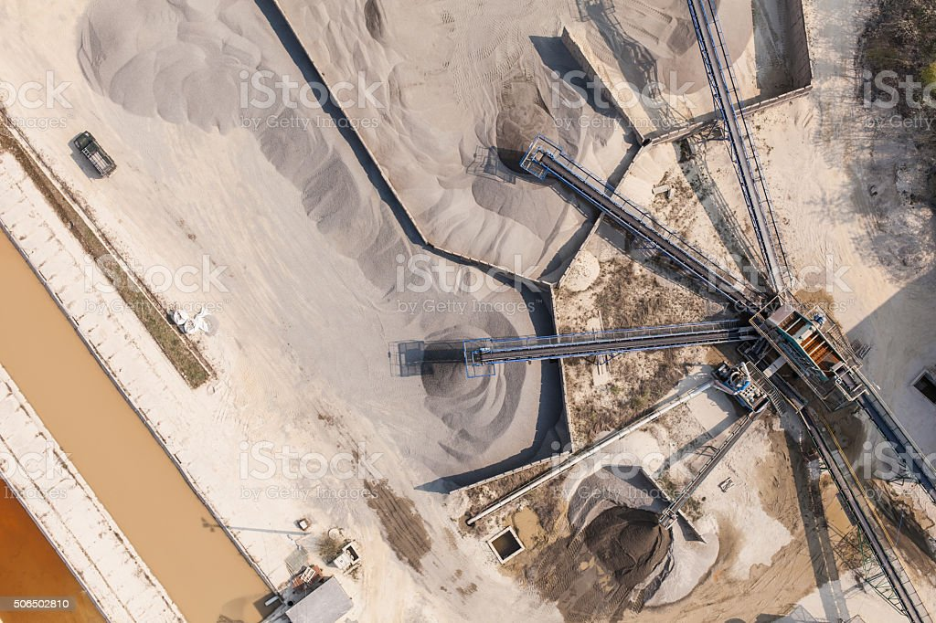 aerial  view of  rock processing plant stock photo