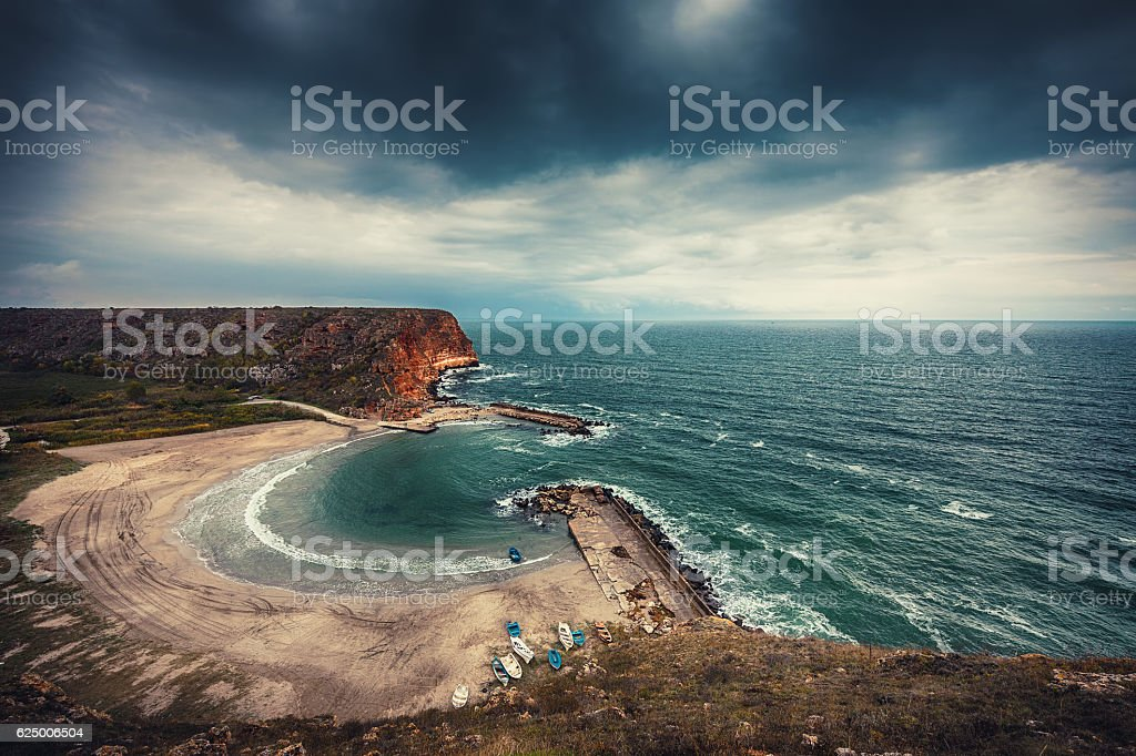 Aerial view of rocky bay. Bolata beach Bulgaria. stock photo