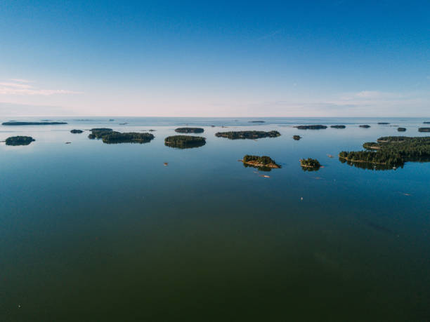 Aerial view of Rocky island in a fjord of Sweden. Stockholm archipelago stock photo