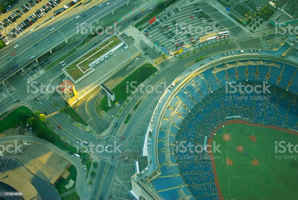 aerial view of Rogers Center formerly the Sky Dome Toronto stock photo