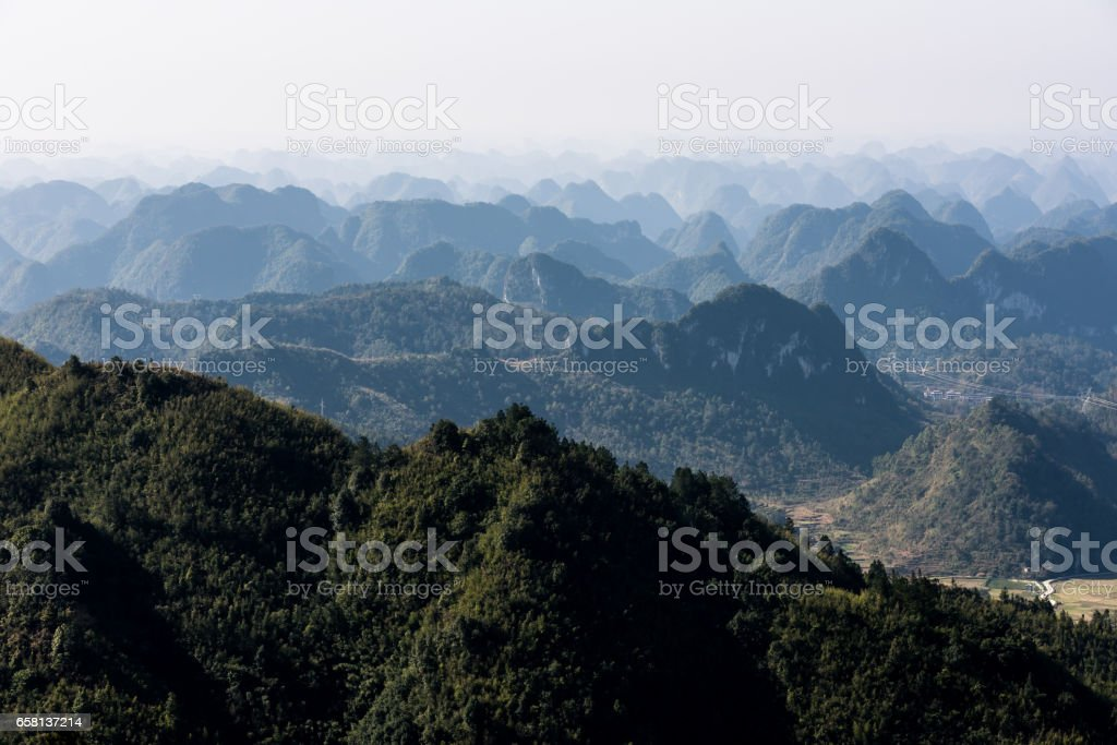 aerial view of roll of green hills royalty-free stock photo
