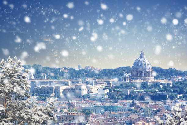 Aerial view of Rome cityscape at winter sunset in Italy stock photo