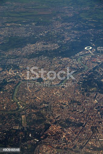 istock Aerial view of Rome, Italy from airplane window 490946546