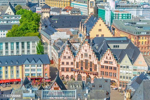 Aerial view of Romerberg square in Frankfurt, Germany