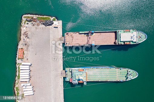 Aerial view of Ro-Ro ship in a commercial port.