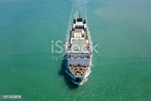 Aerial view of Ro-Ro ship in transit.
