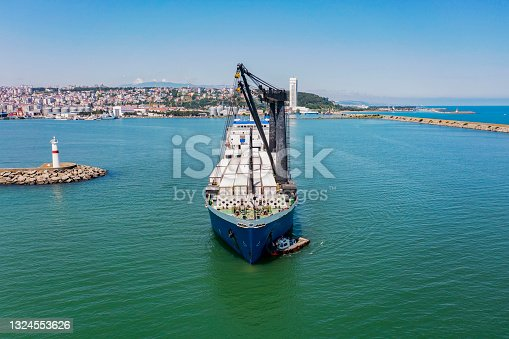 istock Aerial view of Ro-Ro ship in transit. 1324553626