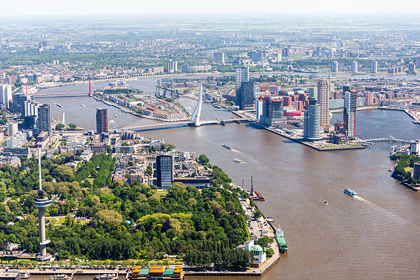 Aerial view of Rotterdam  meuse river stock pictures, royalty-free photos & images