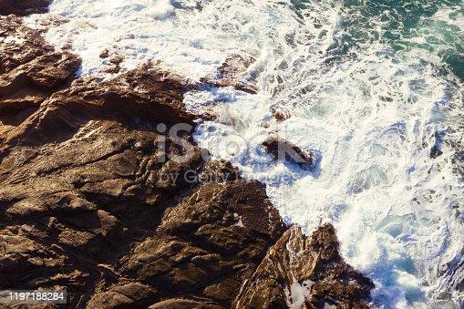 Aerial view of rough waves in the ocean