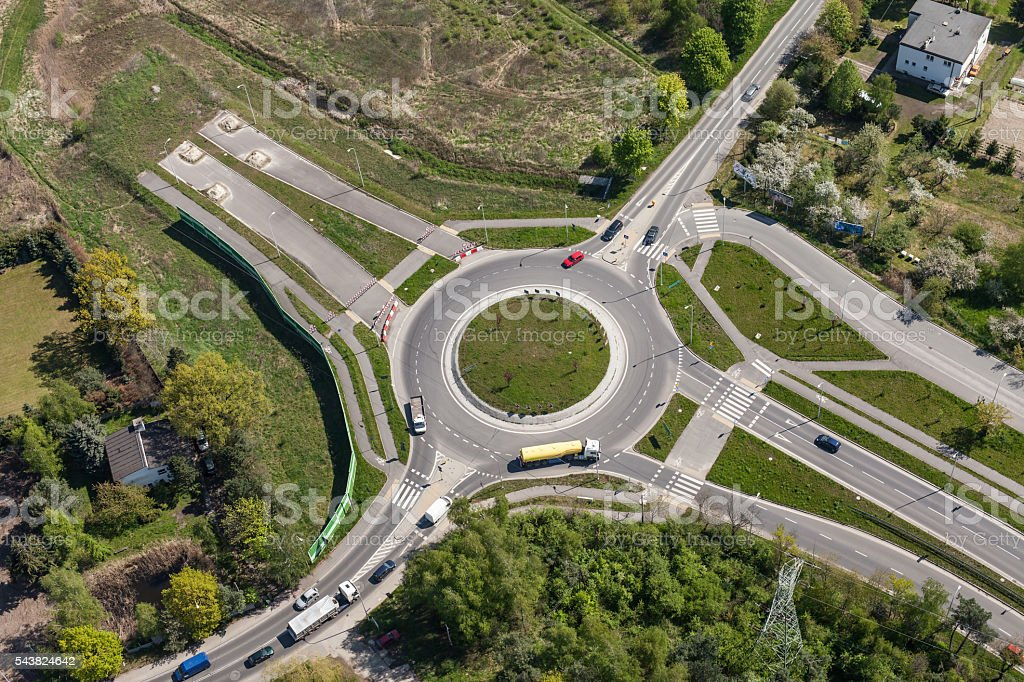aerial view of roundabout in the city stock photo