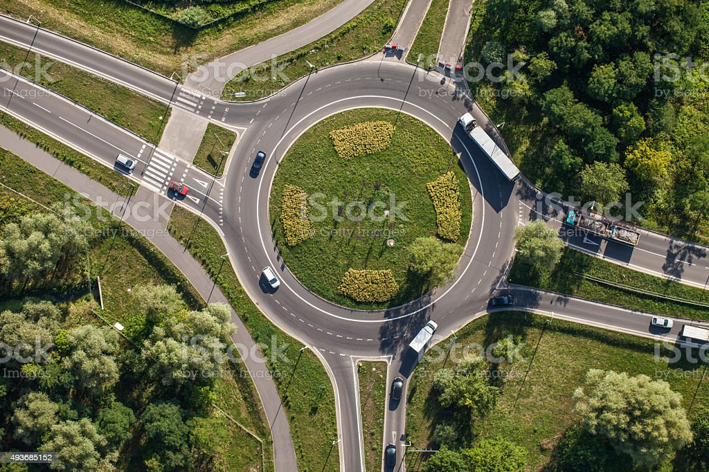 aerial view of roundabout stock photo