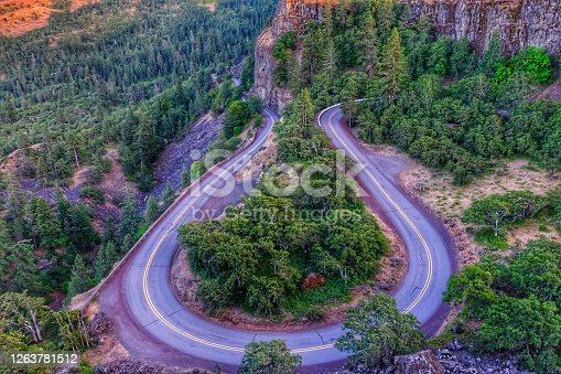 Aerial view of Rowena Crest- the winding highway, Oregon