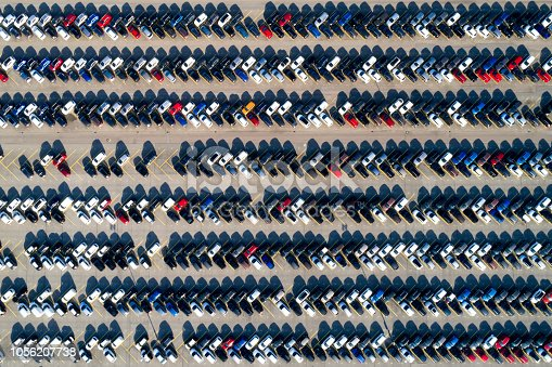 istock Aerial View of Rows of Cars 1056207738