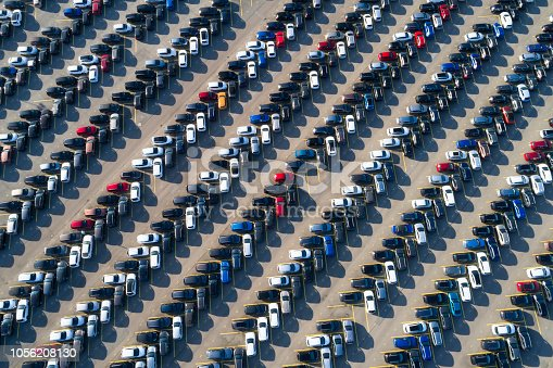 istock Aerial View of Rows of Cars 1056208130