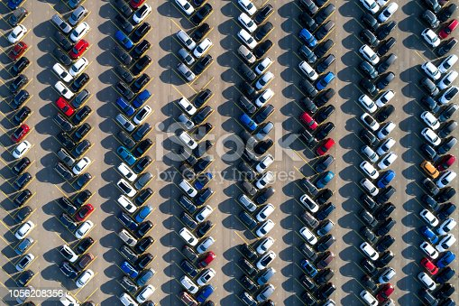 istock Aerial View of Rows of Cars 1056208356