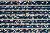 istock Aerial View of Rows of Cars 1056208760
