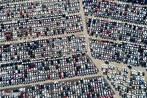 istock Aerial View of Rows of Cars 1056209940