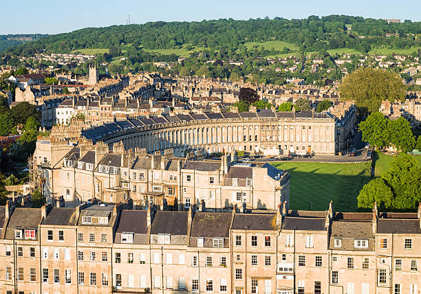 Aerial view of Royal Crescent in Bath, England Evening view of Royal Crescent, a heritage street in the English city of Bath. somerset england stock pictures, royalty-free photos & images