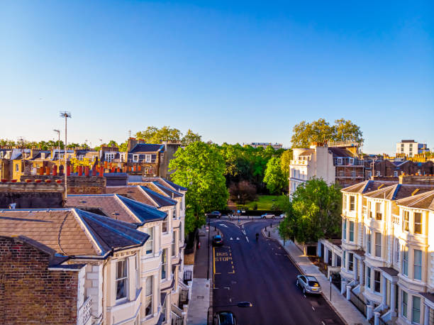 Aerial view of Royal Crescent in the morning, London, UK stock photo