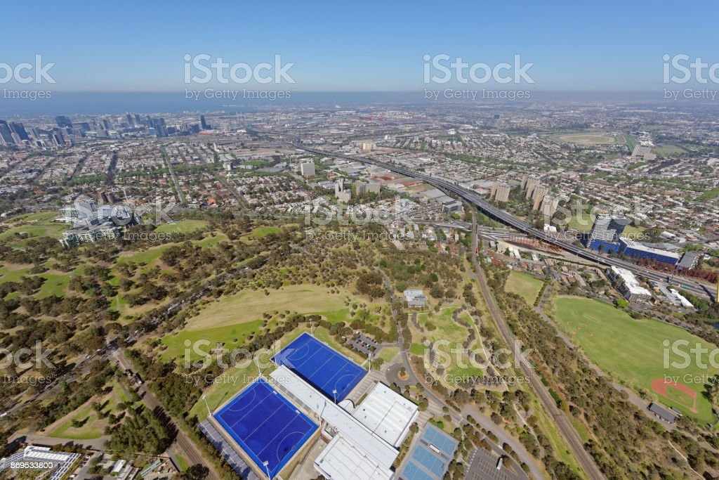 Aerial view of Royal Park, looking south-west stock photo