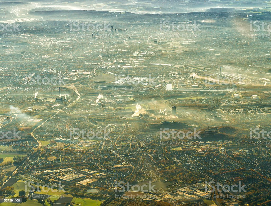 Aerial view of Ruhr district, city of Essen, Germany stock photo