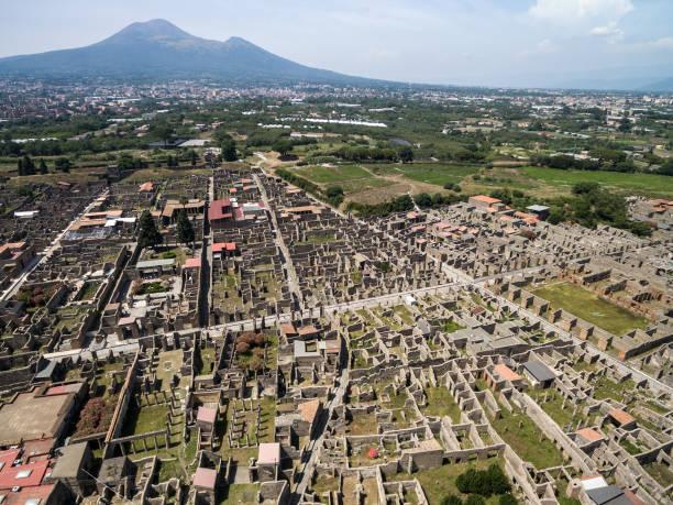Vista aérea de las ruinas de Pompeya, Italia - foto de stock